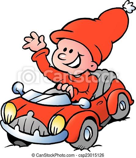car, duende, vermelho, dirigindo, feliz - csp23015126