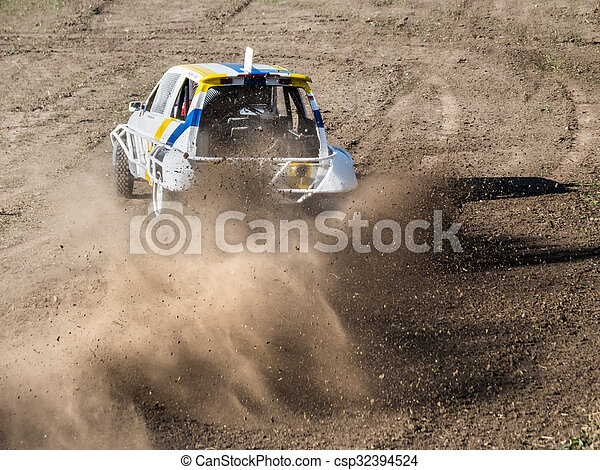 """Car during a """"stock car cross"""" race. - csp32394524"""