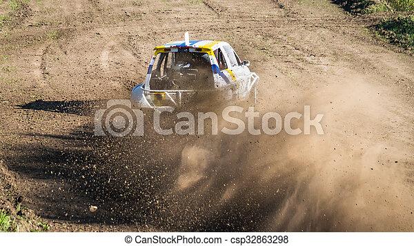 """Car during a """"stock car cross"""" race. - csp32863298"""