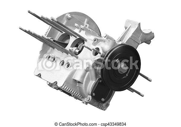 car engine isolated on white background - csp43349834