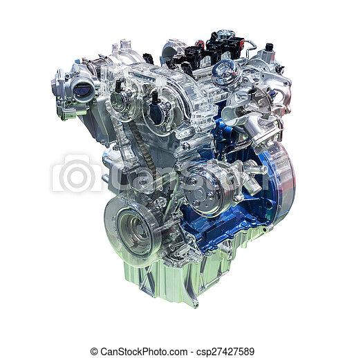 Car engine isolated on white - csp27427589