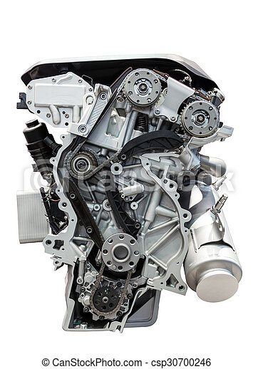 Car engine isolated on white - csp30700246