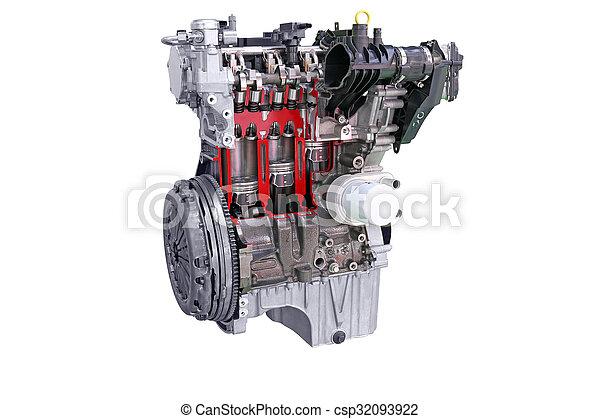 car engine isolated on white - csp32093922
