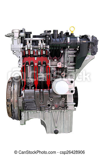 car engine isolated on white - csp26428906