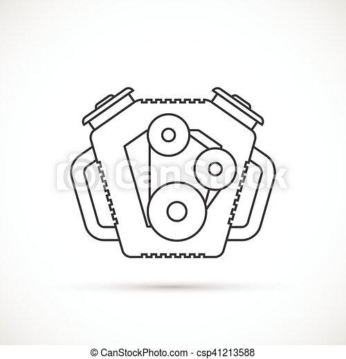Car engine outline icon. car repair service spare part.