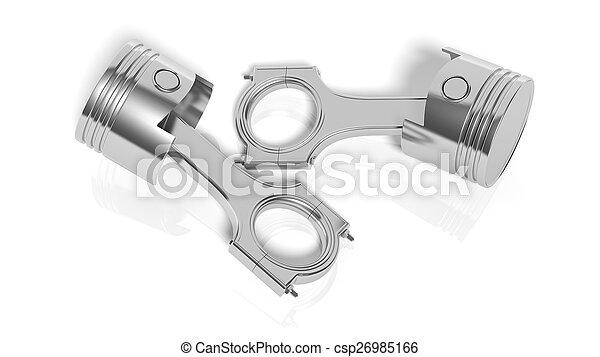 Car engine piston, isolated on white background - csp26985166