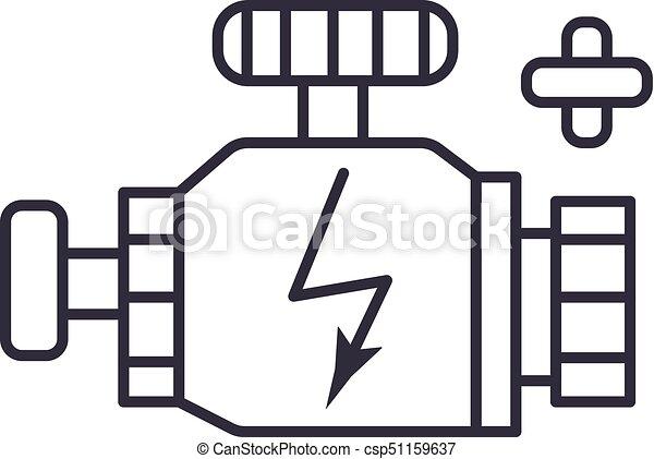 Car Engine Sign Vector Line Icon Sign Illustration On Background