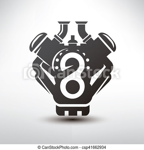 Car Engine Symbol Stylized Vector Silhouette Of Automobile