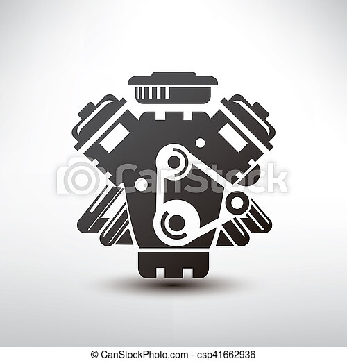 Car Engine Symbol Stylized Vector Silhouette Of Automobile Motor