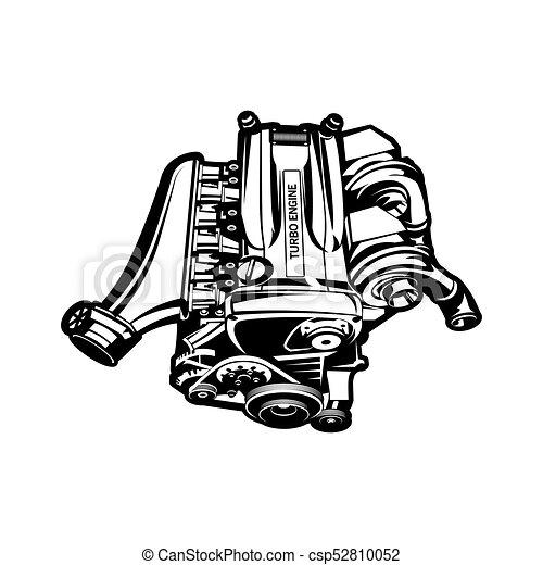 Car Engine Turbo Muscle Car Speedster Illustration Car Engine