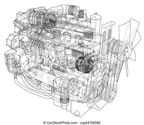 Car engine. vector rendering of 3d. Car engine. vector eps10 format ...