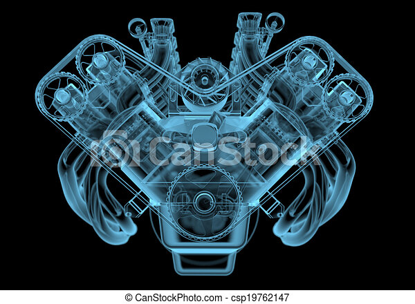 Car engine x-ray blue transparent isolated on black.