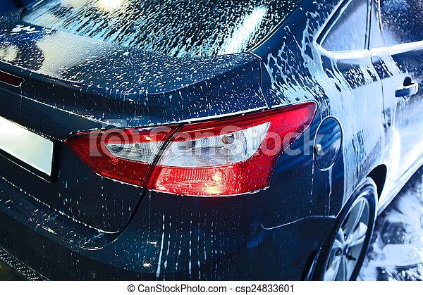 car, espuma, coberto, lavagem - csp24833601