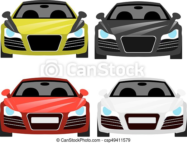 Car Flat Vector Icons In Front View Car Vector Illustration