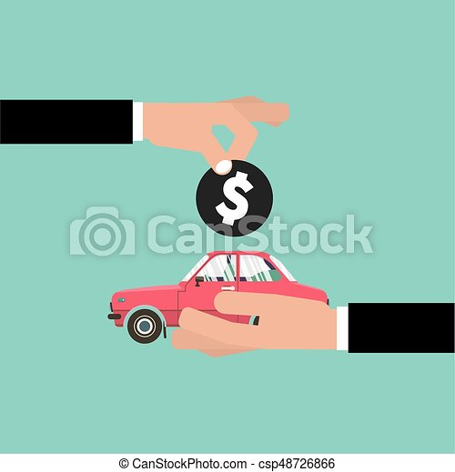 Car For Vehicle Sales Agreement Vector Illustration - csp48726866