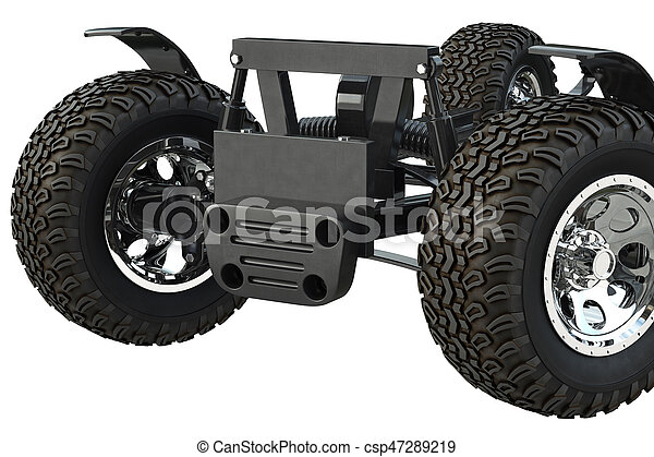 Car frame chassis, close view. Car frame chassis with wheels, close ...
