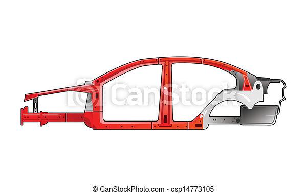 Illustration of a car frame. .