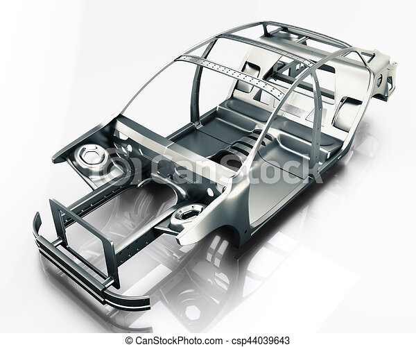 Car frame isolated 3d illustration disassembled car - Voiture 3d dwg ...