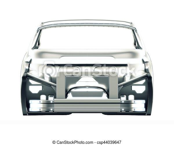 Car frame isolated. 3d illustration. Disassembled car interior. 3d ...