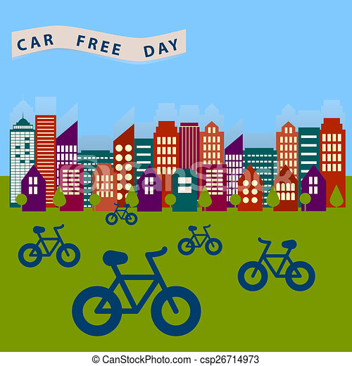 Car free day. Day freet cars to liberate the city from the... stock ...