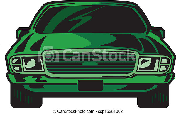 Car Front Cartoon Illustration Front View Of Cool Sports Car