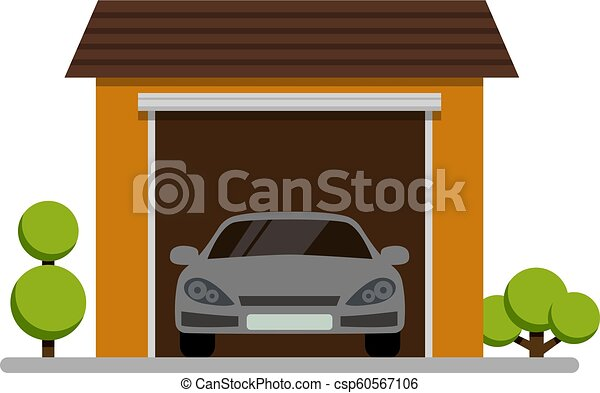 car garage with plant icon on white background - csp60567106