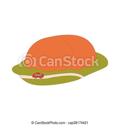 Car goes around mountain icon, cartoon style - csp38174421