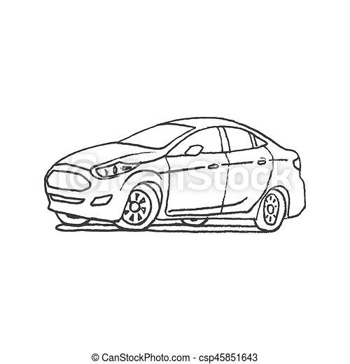 Car Hand Drawn Outline Cartoon Doodle   Csp45851643