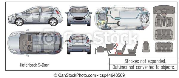 car hatchback interior parts engine seats dashboard drawing blueprint outlines not converted to objects - csp44648569
