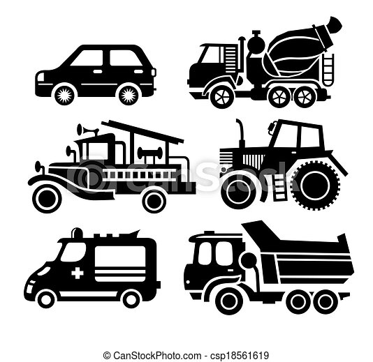 car icon, black transportation vector set - csp18561619