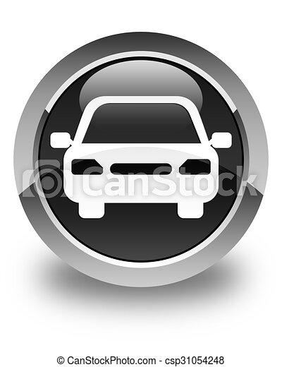 Car icon glossy black round button - csp31054248