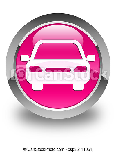 Car icon glossy pink round button - csp35111051