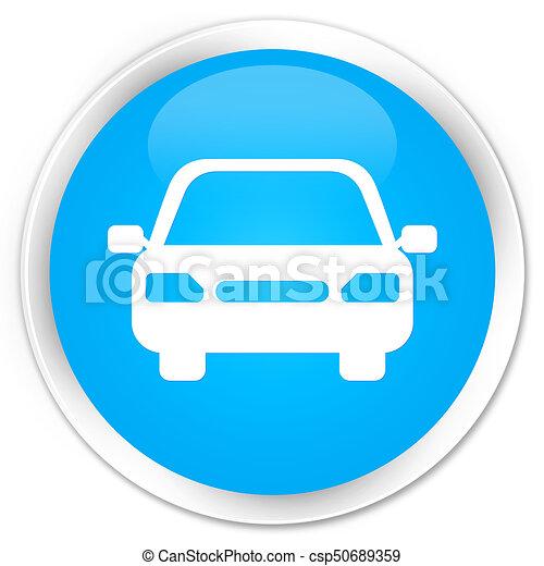 Car icon premium cyan blue round button - csp50689359