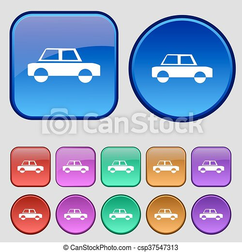 Car icon sign. A set of twelve vintage buttons for your design. Vector - csp37547313