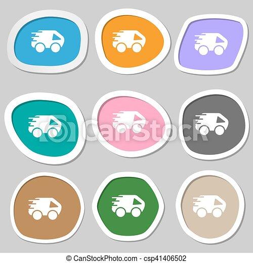 Car Icon symbols. Multicolored paper stickers. Vector - csp41406502