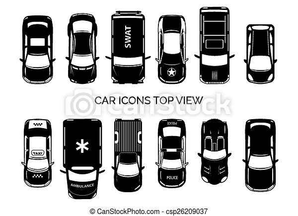 Car Icons Top View Auto And Transportation Collection Automobile