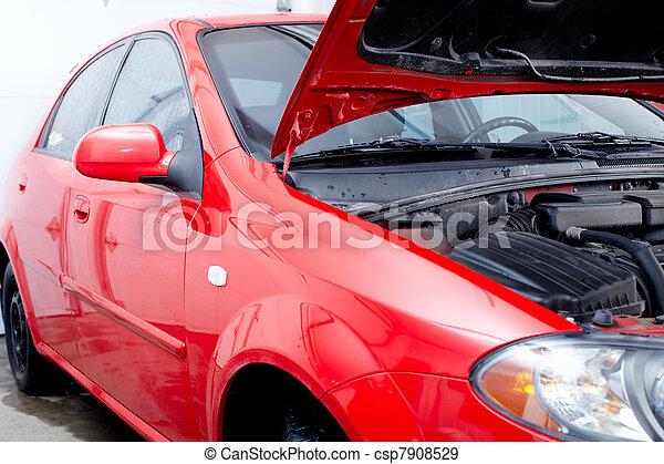 Car in auto repair shop. - csp7908529