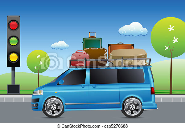 car in traffic with luggage - csp5270688