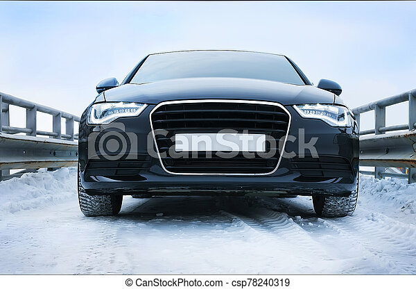 car in winter on road - csp78240319