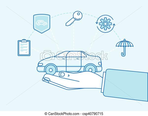 Car insurance concept - illustration and infographics design elements - csp40790715