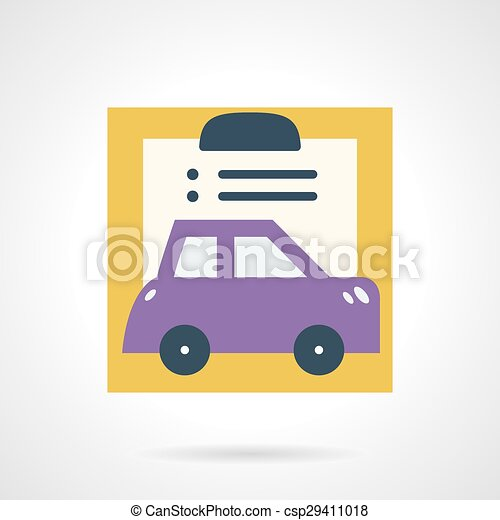 Car Insurance Document Flat Vector Icon Abstract Flat Color Design