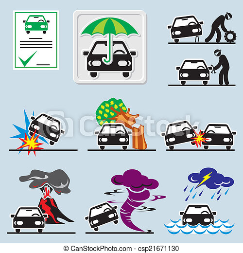 car insurance icons - csp21671130
