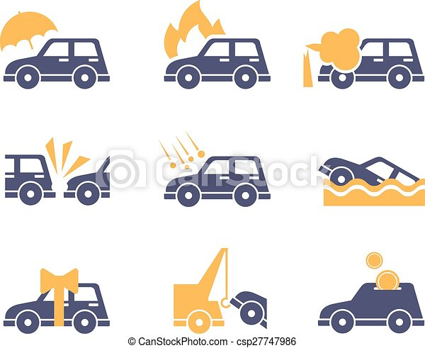 Car Insurance Icons in Flat Style - csp27747986