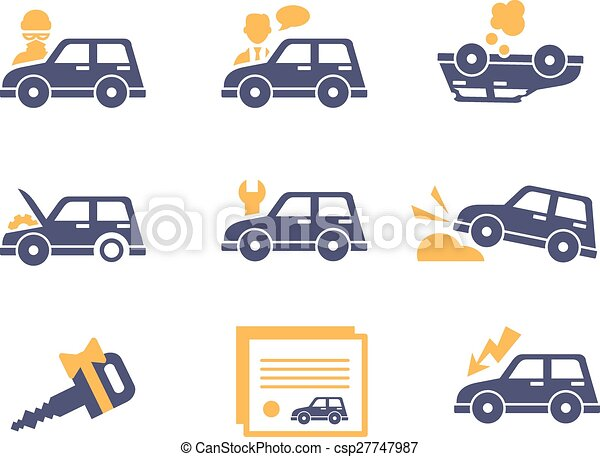 Car Insurance Icons in Flat Style - csp27747987