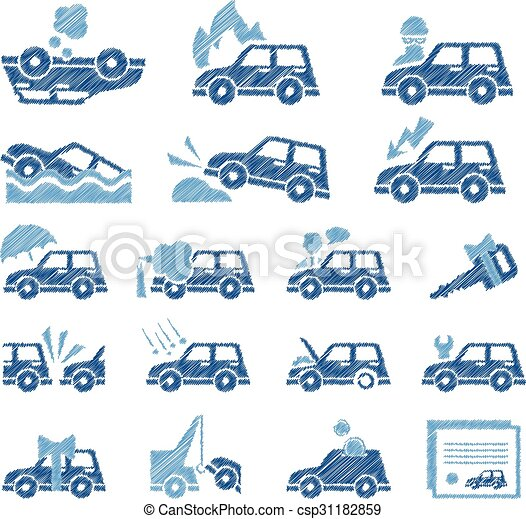 Car Insurance Icons Set. Vector Illustration in Flat Style - csp31182859