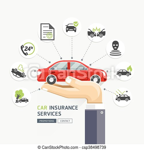 Car insurance services. Business hands holding red car. Vector Illustrations. - csp38498739