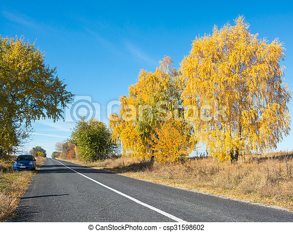 Car is on the side of the road, autumn - csp31598602