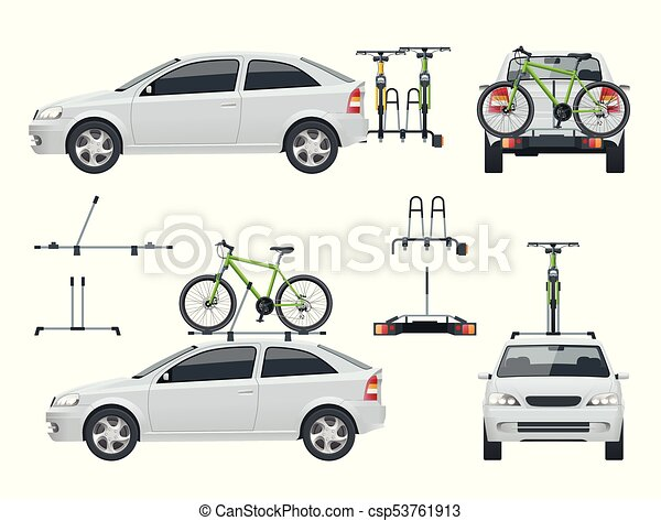 Car is transporting bicycles on the roof and Bikes Loaded on the Back of a Van. Side view and back view. - csp53761913
