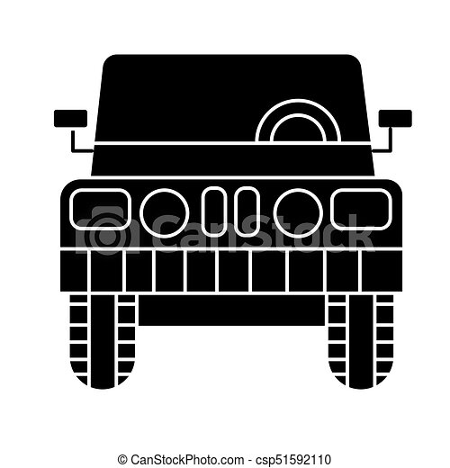car jeep front view icon vector illustration black sign on