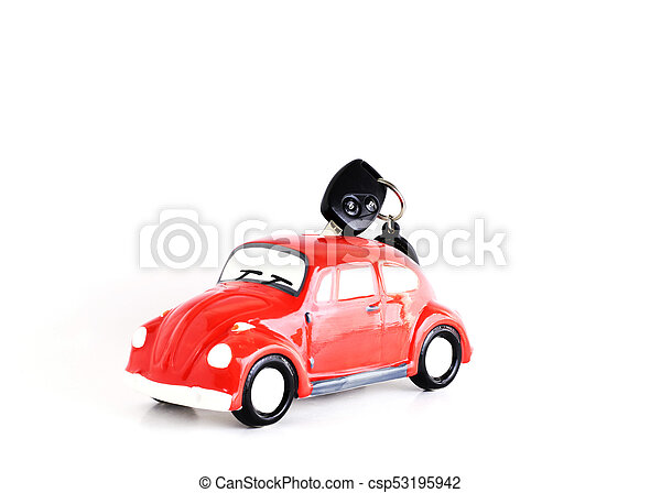 Car key into Car bank on white background for Car Loans concept - csp53195942